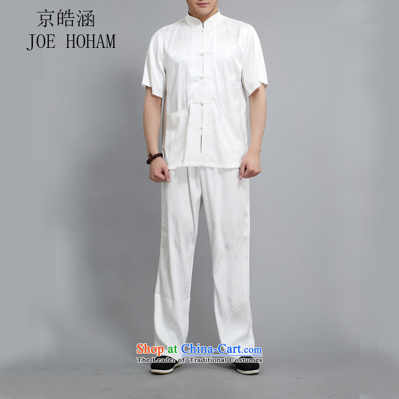 Kyung-ho, Tang dynasty older Short-Sleeve Men national casual shirt summer father Kit White�XXL
