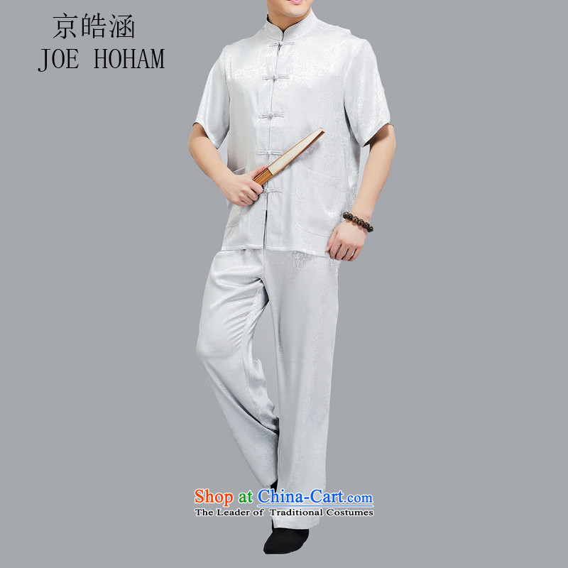 Kyung-ho Tang dynasty covered by men in short-sleeved older men summer men kit ball-dress uniform light gray燲XXL