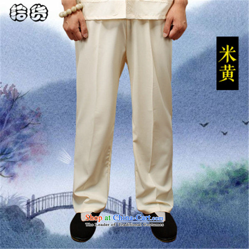 The 2015 summer pickup) older men's new book, the summer short pants older persons tai chi elastic solid color Large pant practitioners beige trousers XXL