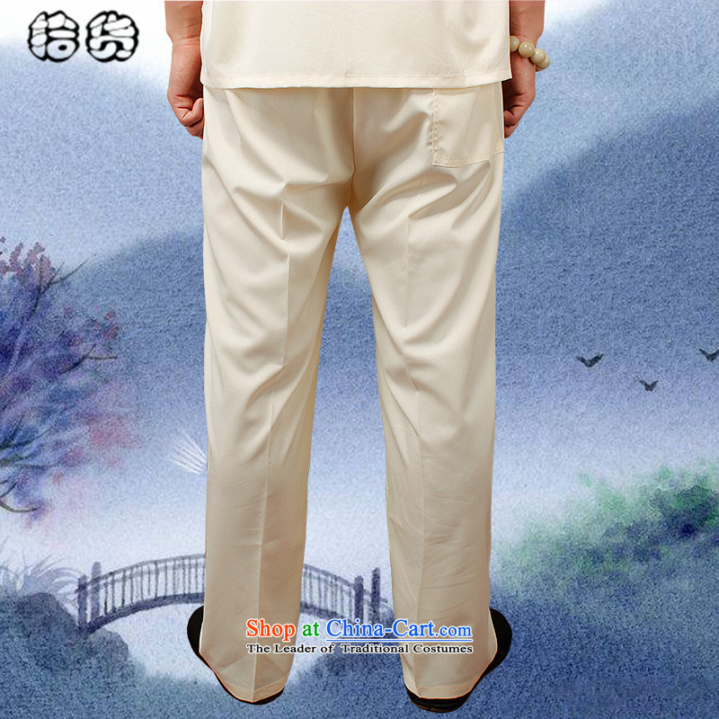 The 2015 summer pickup) older men's new book, the summer short pants older persons tai chi elastic solid color Large pant practitioners trousers beigeXXL, pickup (shihuo) , , , shopping on the Internet
