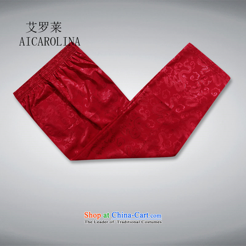 Rollet HIV from older men's Tang Dynasty Chinese Han-Summer Ball-middle-aged services pants leisure summer father red聽XL