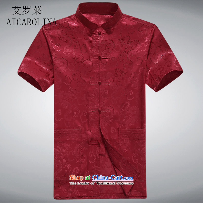 Hiv Rollet 2015 new products in the summer of older men short-sleeved shirt Tang dynasty middle-aged men's apparel half sleeve father燲XXL red