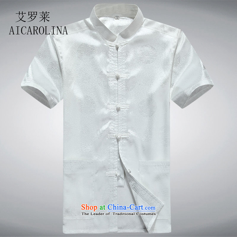 Hiv middle-aged men rollet short-sleeved Tang dynasty China wind middle-aged men short-sleeved blouses white聽XXXL Tang