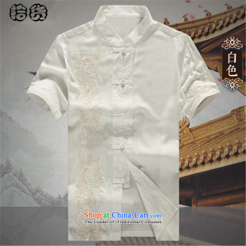 The 2015 summer pickup) older short-sleeved Tang dynasty male summer men summer Chinese embroidery national costumes grandpa summer father Han-T-shirt White 180