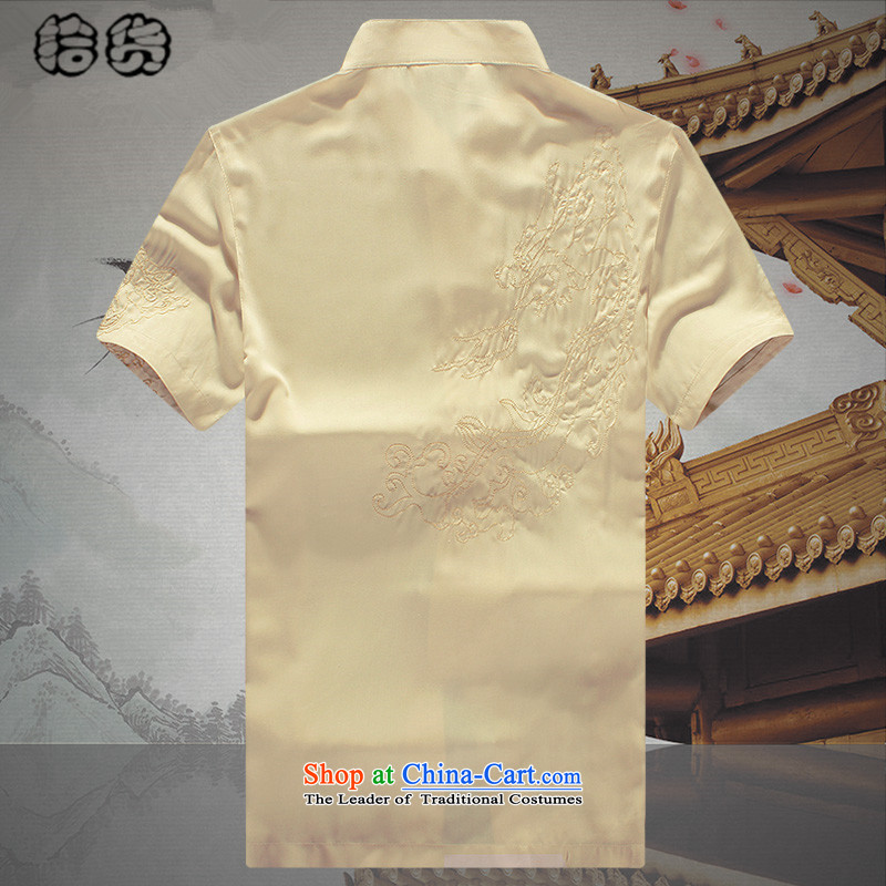 The 2015 summer pickup) older short-sleeved Tang dynasty male summer men summer Chinese embroidery national costumes grandpa summer father Han-white T-shirt聽(shihuo 180, pickup) , , , shopping on the Internet