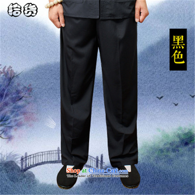 The OSCE, in the summer of 2015, the name of the older men's trousers, pants, father Ronald elderly men pants elastic waist summer very CASUAL TROUSERS LARGE BLACK?XXXXL Tang dynasty male