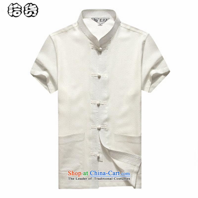 The OSCE, 2015 summer, middle-aged lemonade men short-sleeved shirt in older summer blouses solid color minimalist China wind Men's Mock-Neck Shirt Tang Dynasty Large Yellow�185