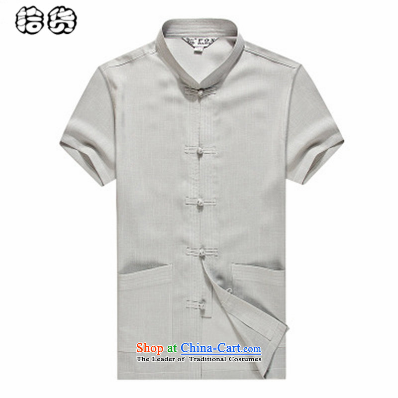 The OSCE, 2015 summer, middle-aged lemonade men Tang Dynasty Chinese shirt and solid color linen minimalist collar short-sleeved shirt cotton linen large gray blouse leisure?170