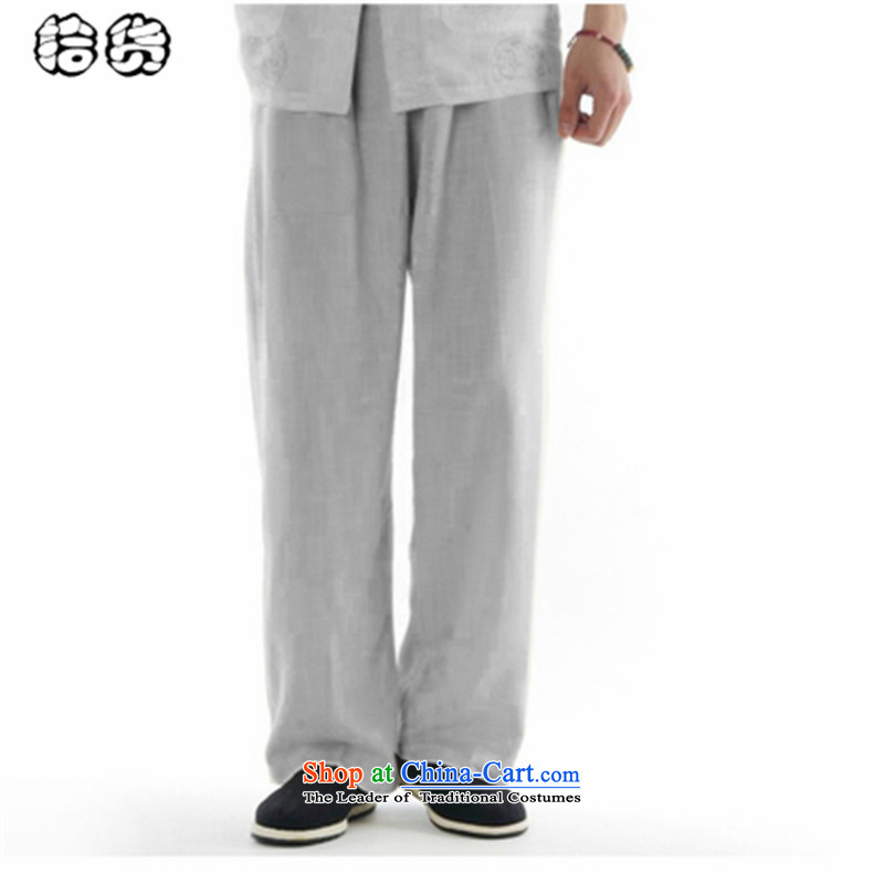 The OSCE, 2015 summer, middle-aged lemonade men casual pants larger elasticated waist belt loose linen middle-aged trousers work trousers father Tang pants Light Gray聽31
