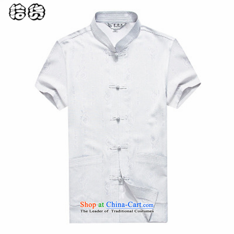 The OSCE, in the summer of 2015, the name of the Tang dynasty older men summer new products short-sleeved shirt with large middle-aged loose linen more pocket dad summer load White�185