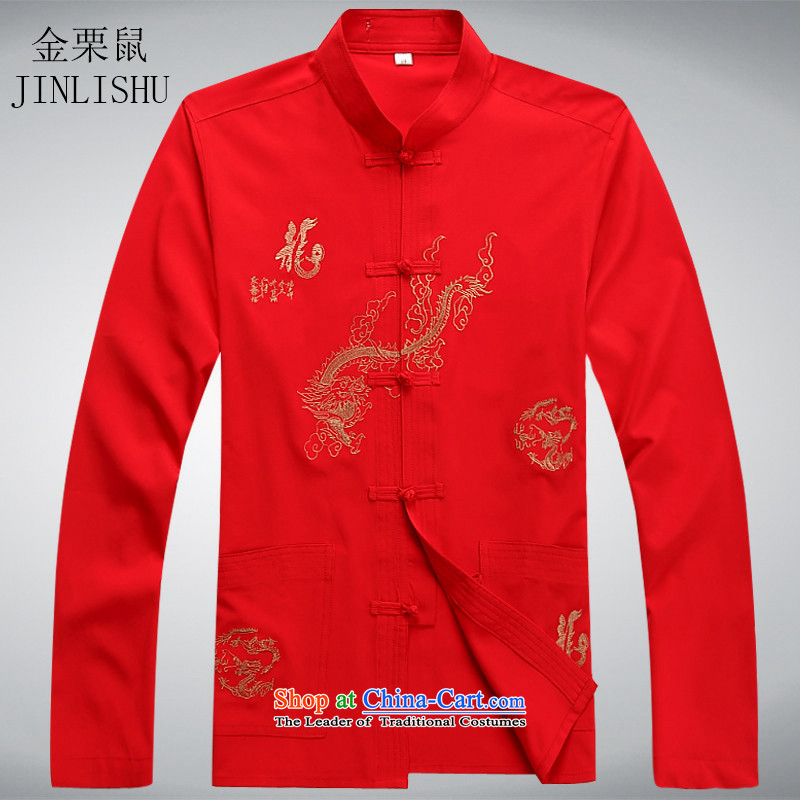 Kanaguri mouse in older men Tang Dynasty Chinese long-sleeved Tang Dynasty Spring Wind Jacket coat middle-aged China Tang Dynasty Package red T-shirt?L