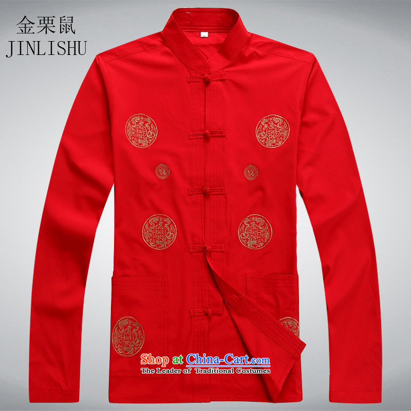 Kanaguri mouse in Tang Dynasty Older long-sleeved Kit Chinese New Spring Collar up large tie embroidery of older persons in the Tang dynasty聽XXXL red T-Shirt