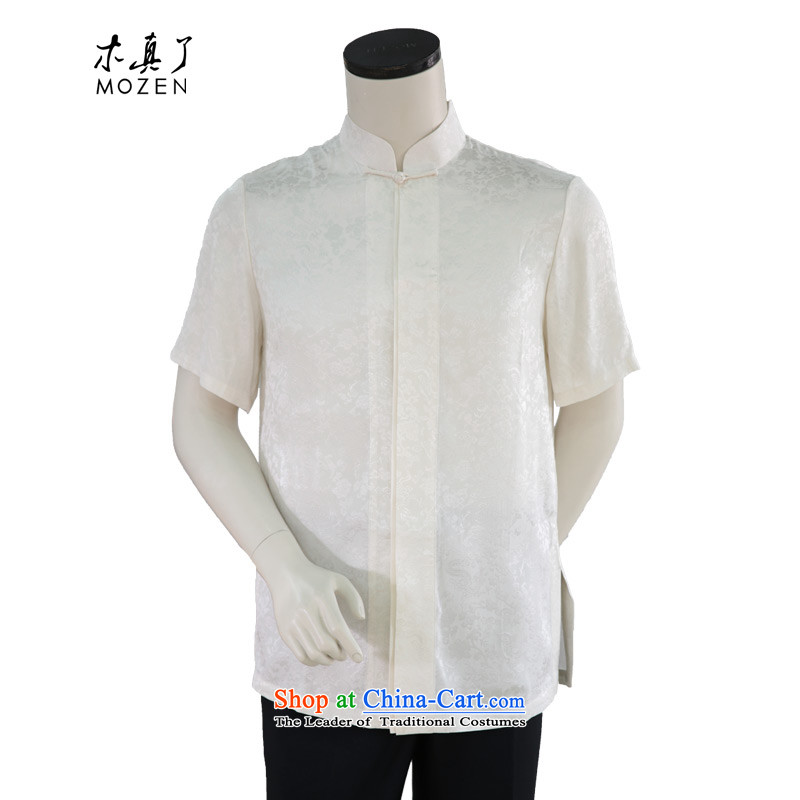 Wood of 2015 Summer really new middle-aged men's half-sleeved shirt with?white father:21940 02 dragon design?M