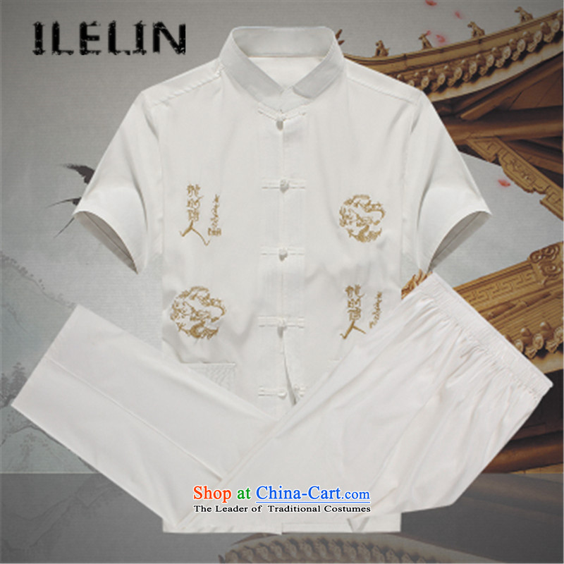 Mr Ronald, male ILELIN2015 Tang Dynasty Package summer short-sleeved of older persons in the elderly men's father and grandfather Tang Dynasty Large relaxd summer�A White�185