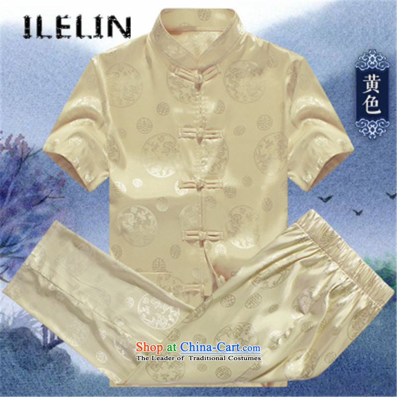 Mr Tang dynasty men ILELIN2015 short-sleeved summer men loose Large Tang dynasty short-sleeved T-shirt in packaged older Han-China wind jogging Tai Chi Kit Yellow?190