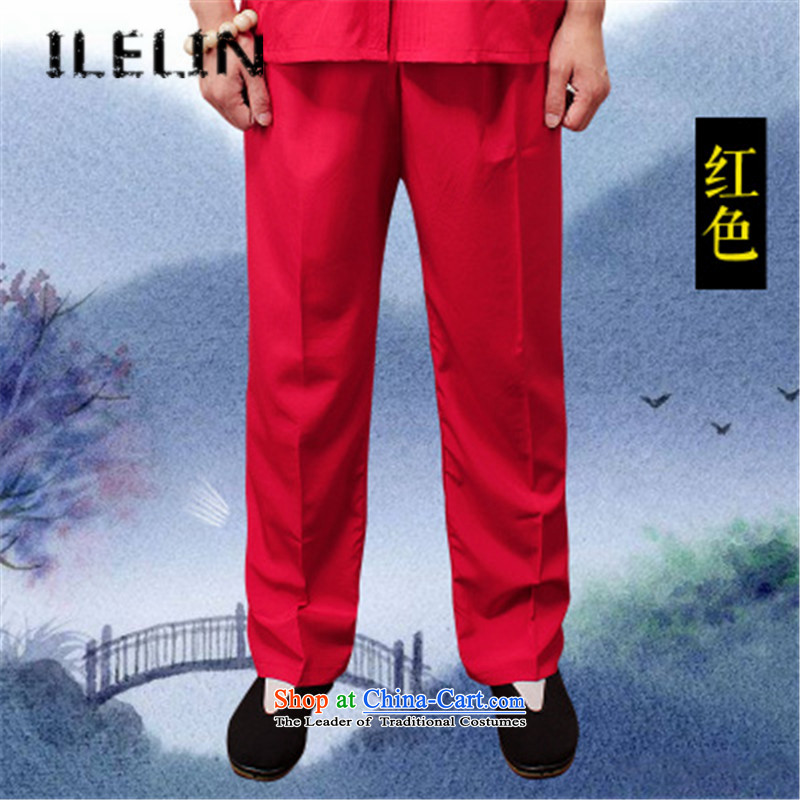 Mr Ronald, male ILELIN2015 trousers China wind male Tang Dynasty Large loose trousers summer Chinese men's trousers, comfort and breathability and simple Han-red?XXL