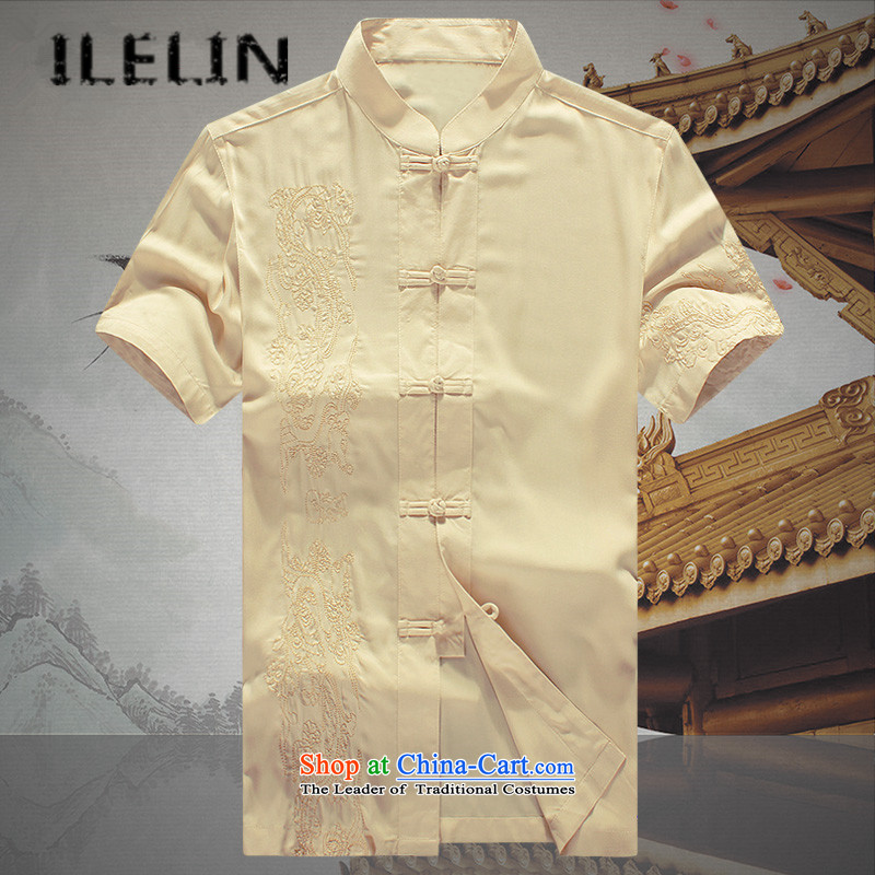 Mr Ronald_ Elderly ILELIN2015 short-sleeved Tang dynasty male middle-aged men summer summer Chinese national costumes grandpa summer father Han-T-shirt Large Yellow聽175