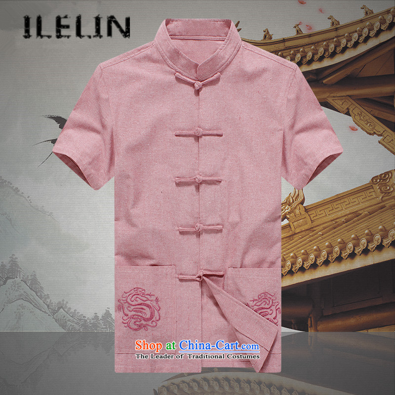 Mr Ronald of Chinese Wind ILELIN2015 men Tang dynasty male summer youth short-sleeved T-shirt Mock-Neck Shirt Chinese Han-improved large pink shirt 175
