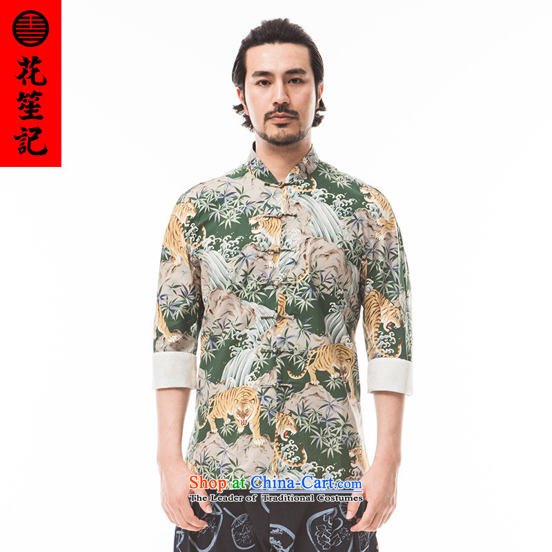 His Excellency flower note China wind retreat Yi Tiger men Stylish retro collar disc detained Tang Dynasty to the wave of ethnic summer green giant XL