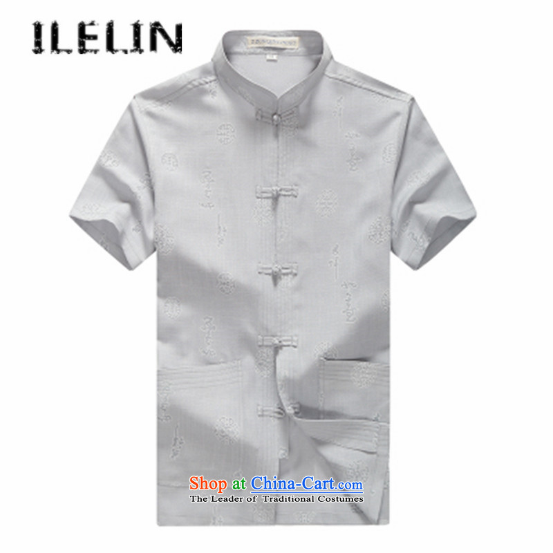 Mr Ronald) Elderly ILELIN2015 men Tang dynasty male summer short-sleeved China wind men Han-large grandfather replacing older persons for summer linen male gray 175