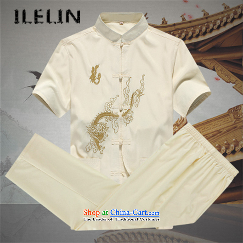 In summer ILELIN2015 older persons men short-sleeved Tang dynasty male Kit China wind Chinese leisure Mock-neck national service for larger father replacing beige?165