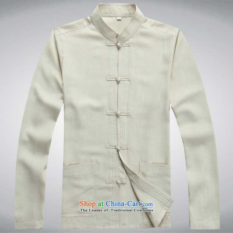 Hundreds of brigade bailv summer Stylish slim, collar comfortable long-sleeved tray clip leisure wears light yellow?XXL
