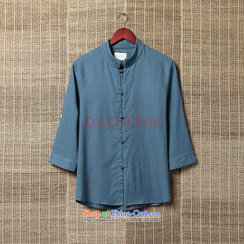 Summer ethnic m2monline2015 Tang dynasty linen shirt 7 in his shirt-sleeves sleeveless shirt that men and midnight blue?XXL