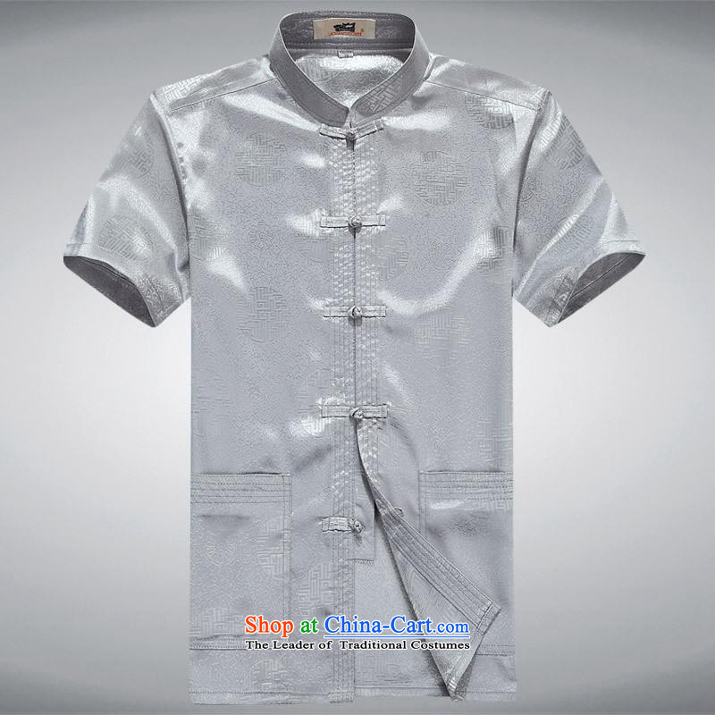 Hundreds of brigade bailv summer Stylish slim, collar comfortable short-sleeved T-shirt leisure detained tray light gray?185