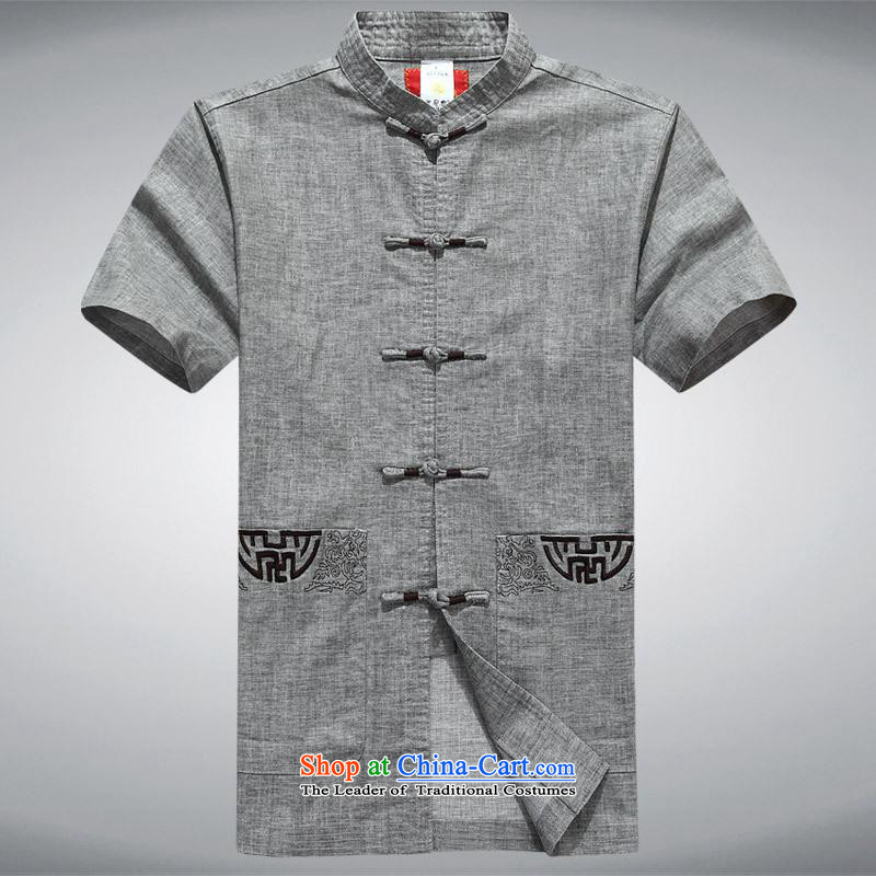 Hundreds of brigade bailv summer stylish comfort lapel suit Sau San short-sleeved T-shirt men's gray?XL