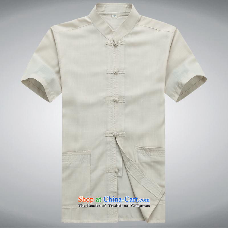 Hundreds of brigade bailv summer Stylish slim, collar comfortable short-sleeved leisure wears ties tray light yellow?XXL