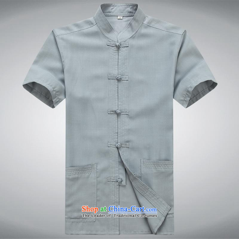 Hundreds of brigade bailv summer Stylish slim, collar comfortable short-sleeved leisure wears ties is light gray?S