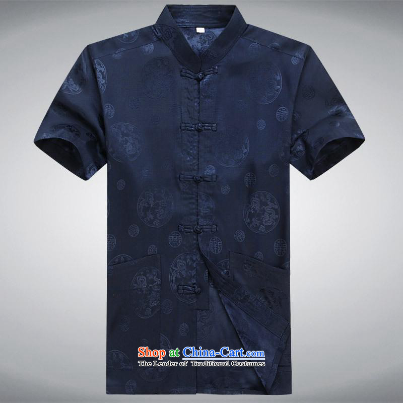Hundreds of brigade bailv summer Stylish slim, collar comfortable short-sleeved leisure wears ties up the dark blue?XXL