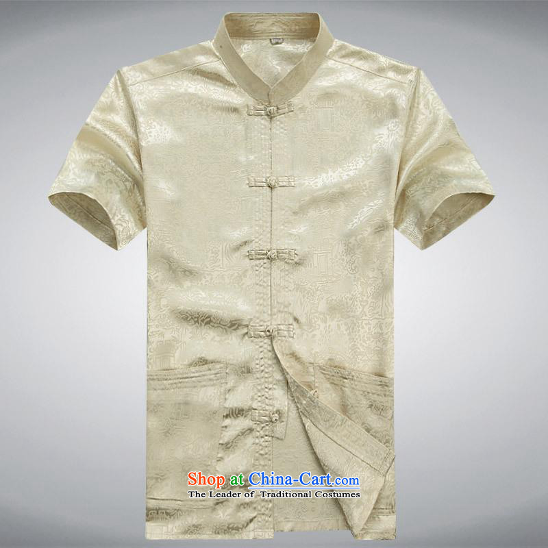 Hundreds of brigade bailv summer Stylish slim, collar comfortable short-sleeved leisure wears ties tray light yellow?M