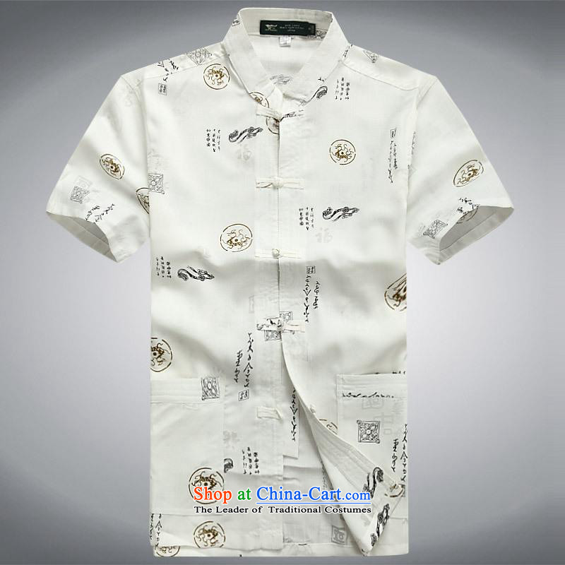 Hundreds of brigade bailv summer Stylish slim, collar comfortable short-sleeved T-shirt casual detained disc White?M