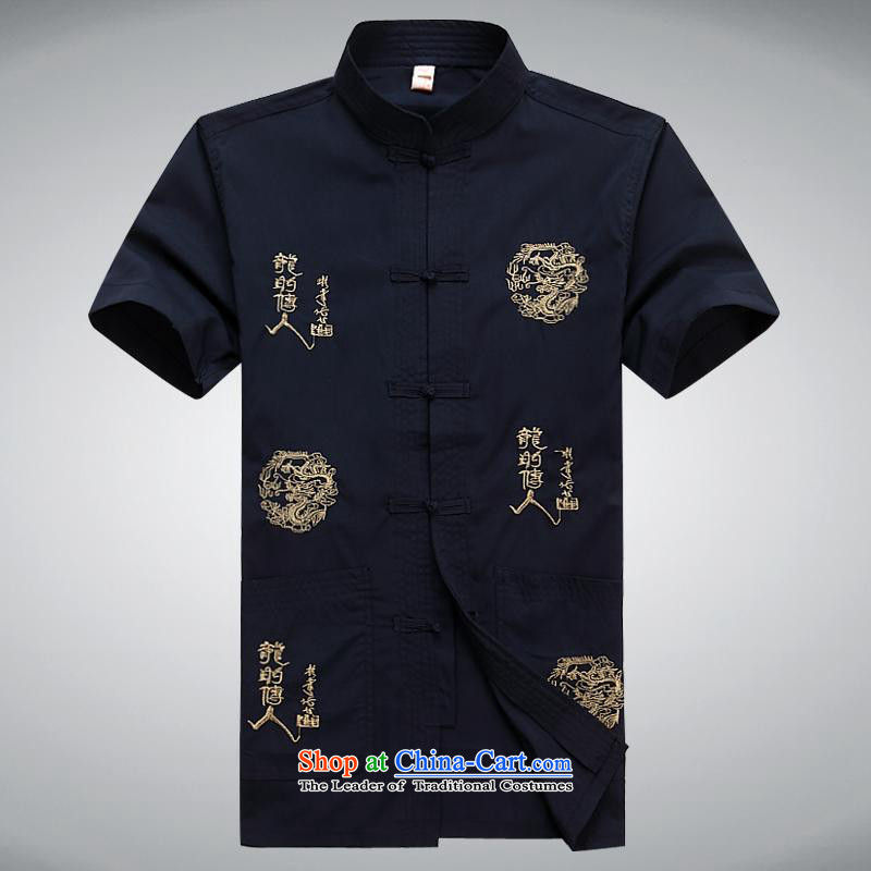 Hundreds of brigade bailv summer Stylish slim, collar comfortable short-sleeved leisure wears ties up the dark blue?XXXL