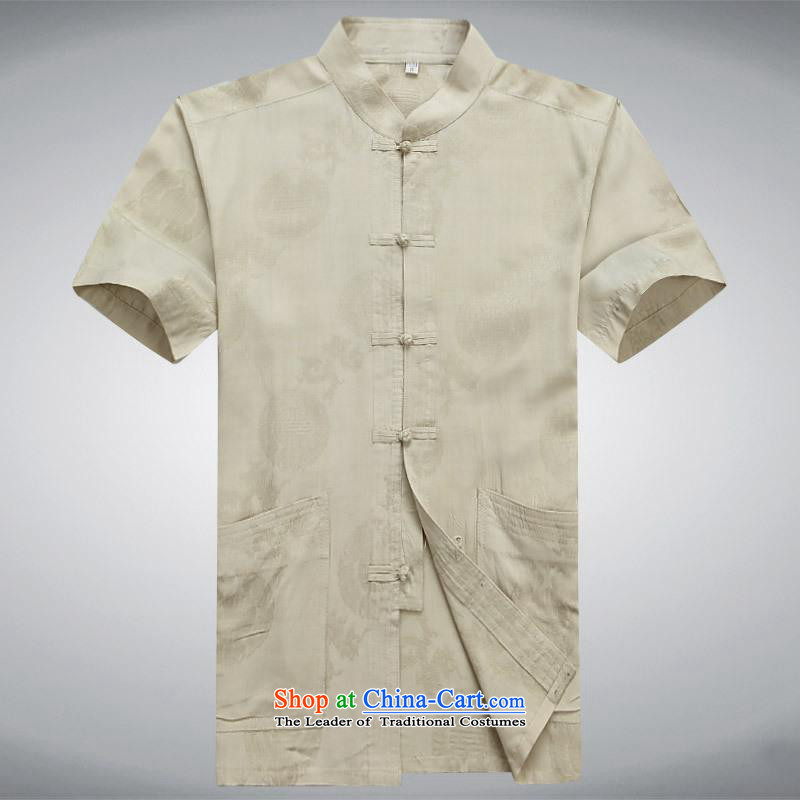 Hundreds of brigade bailv summer Stylish slim, collar comfortable short-sleeved T-shirt leisure detained tray light yellow?L