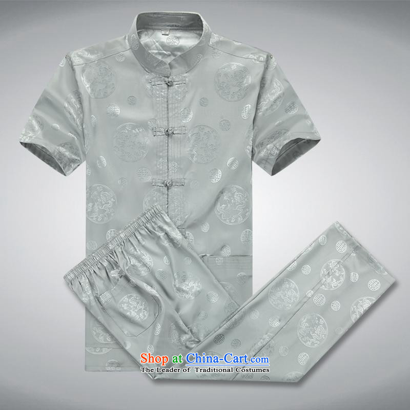 Hundreds of brigade bailv summer Stylish slim, collar comfortable short-sleeved leisure wears ties is light gray?XXL