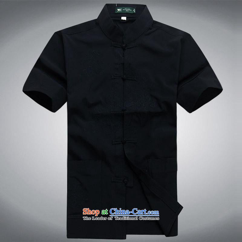 Hundreds of brigade bailv summer Stylish slim, collar comfortable short-sleeved leisure wears ties up the dark blue?XL