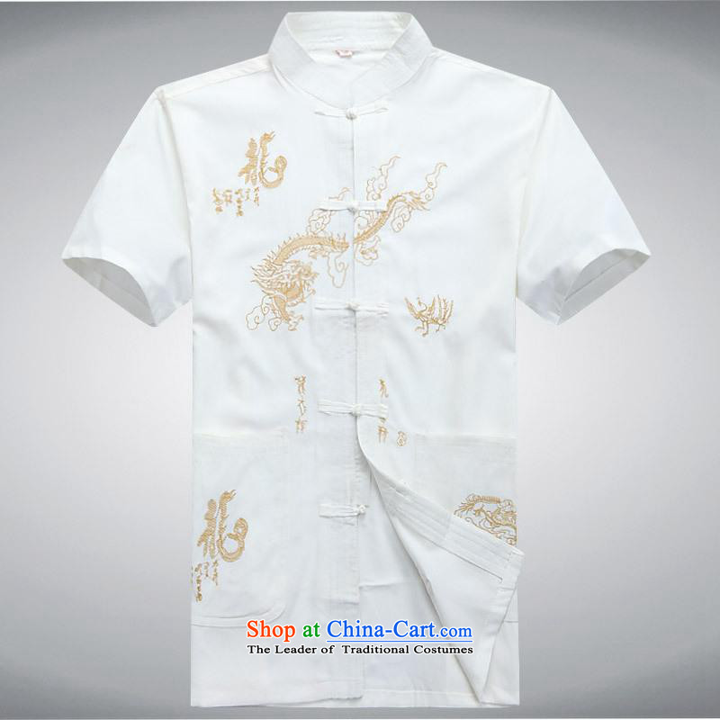 Hundreds of brigade bailv summer Stylish slim, collar comfortable short-sleeved leisure wears ties up White?XXL