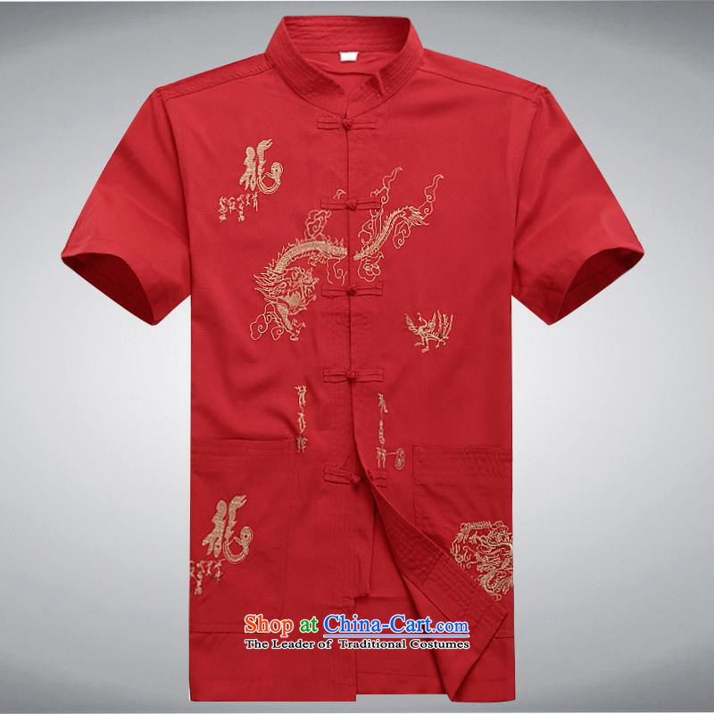 Hundreds of brigade bailv summer Stylish slim, collar comfortable short-sleeved leisure wears ties up red?L