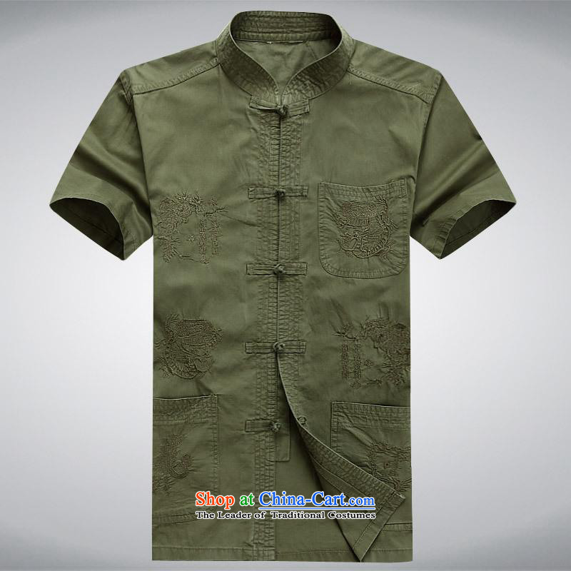 Hundreds of brigade bailv summer Stylish slim plate fasteners leisure Short-Sleeve Mock-Neck Shirt comfortable Army Green燬