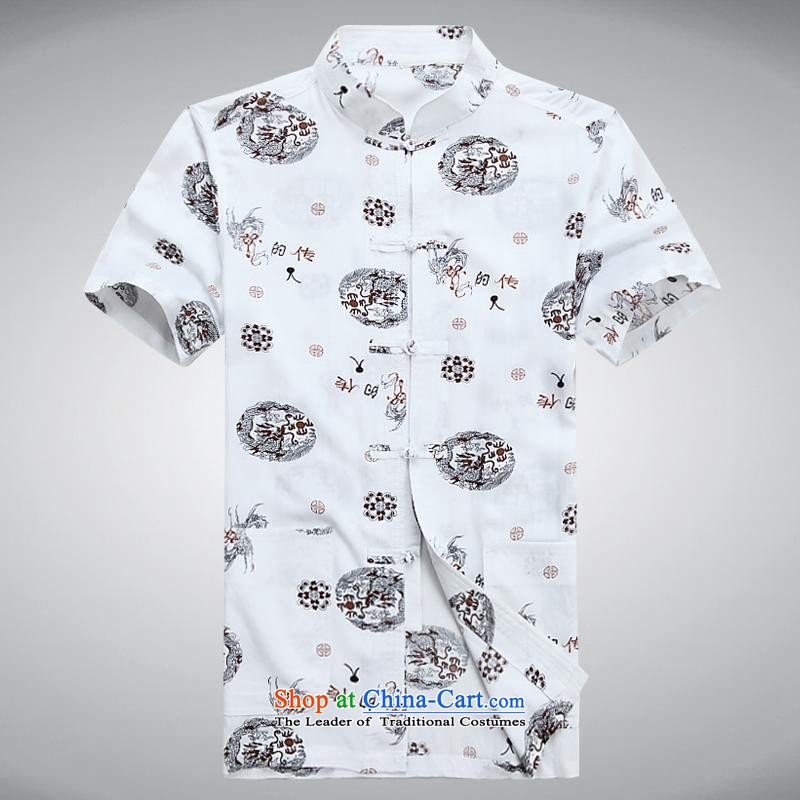 Hundreds of brigade bailv summer Stylish slim plate fasteners leisure Short-Sleeve Mock-Neck comfort with flower patterns White燲L
