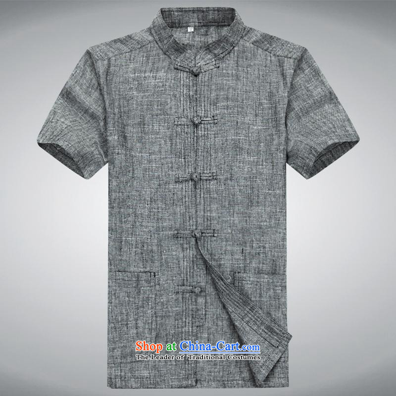 Hundreds of brigade bailv summer Stylish slim plate fasteners leisure Short-Sleeve Mock-Neck Shirt comfortable gray?L