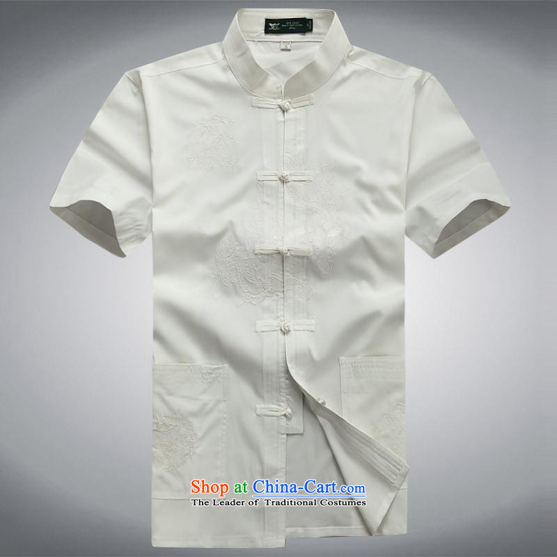 Hundreds of brigade bailv summer Stylish slim plate fasteners leisure Short-Sleeve Mock-Neck comfortable suite white?L