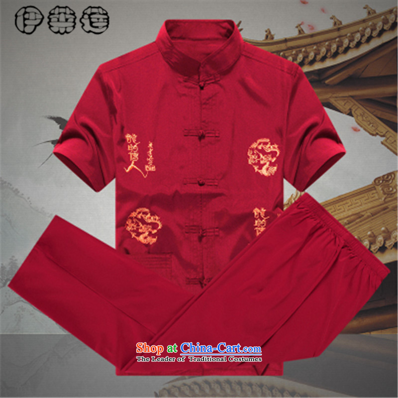 Hirlet Wu Xia Men, 2015 Tang Dynasty Package short-sleeved and older persons in the Men's Shirt Dad code pants grandpa summer jacket coat?A Red?175