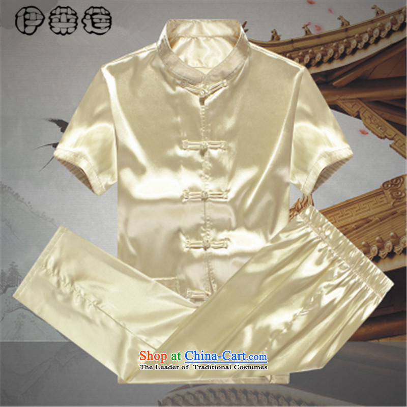 Hirlet Lin Summer 2015) Older spring and summer silk-deduction exercise clothing minimalist men short-sleeved Large Tang dynasty traditional ethnic costume Kit Yellow?190