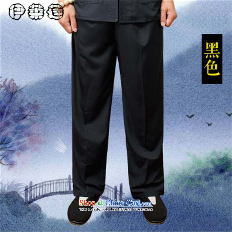 Hirlet Lin Summer 2015_ older men's trousers, pants, father Ronald elderly men pants elastic waist trousers large leisure Mr Tang dynasty male black燲XXXL