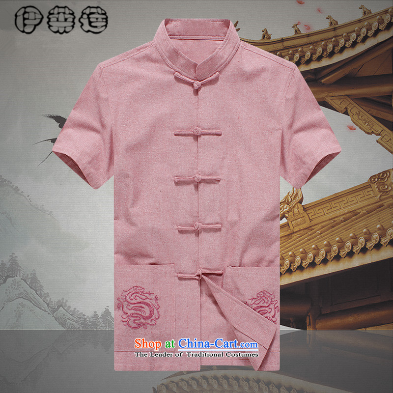 Hirlet Wu Xia Men, 2015 Large Tang dynasty short-sleeved T-shirt China wind Chinese shirt linen young man pink embroidered Tang dynasty summer pink shirt 190