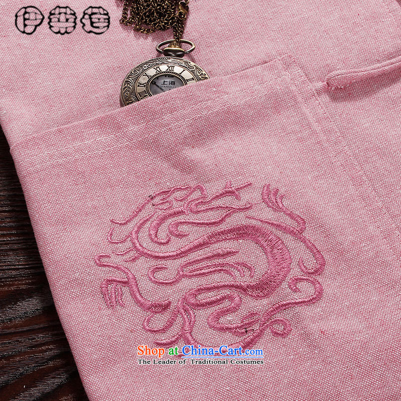 Hirlet Wu Xia Men, 2015 Large Tang dynasty short-sleeved T-shirt China wind Chinese shirt linen young man pink embroidered Tang dynasty summer pink shirt 190, Yele Ephraim ILELIN () , , , shopping on the Internet