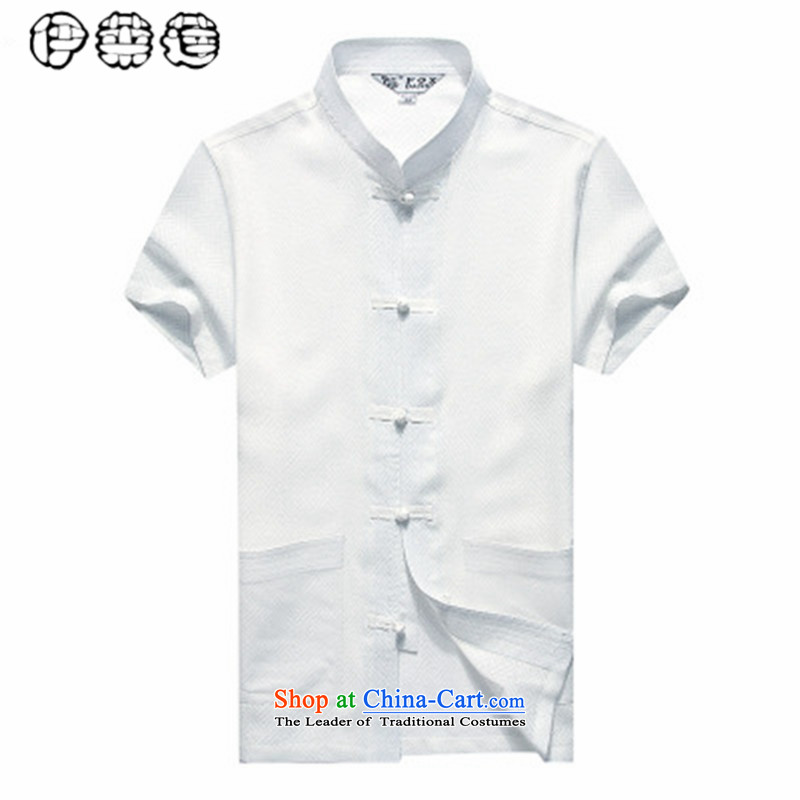 Hirlet Wu Xia, middle-aged men 2015 taxi loaded short-sleeved shirt Tang linen in older men loose larger father installed China wind half-sleeved shirt White聽185